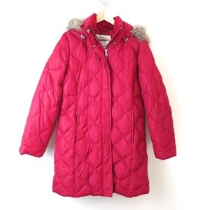 Eddie Bauer Red Goose Down Hooded Puffer Parker